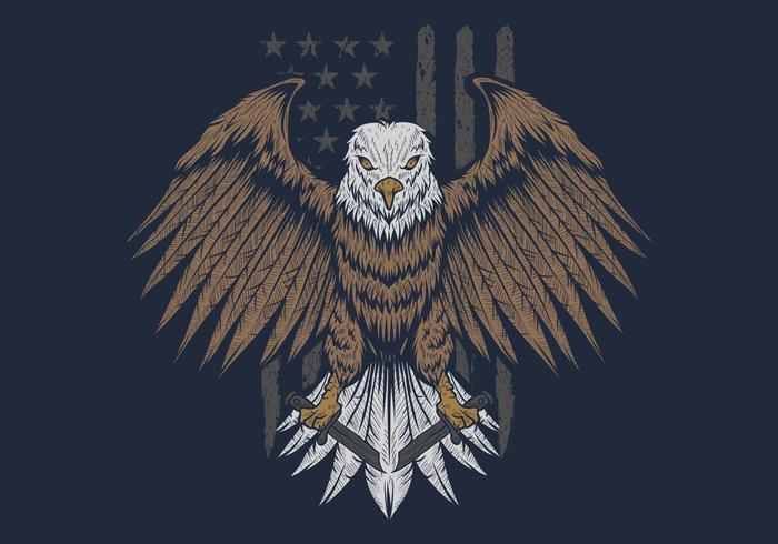 Adler vor USA-Markierungsfahnenvektorabbildung vektor