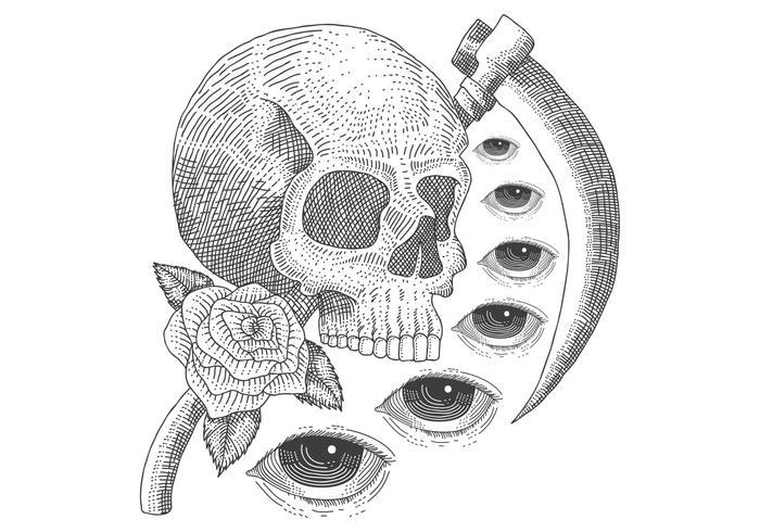 Augentod-Weinleseschädel vektor