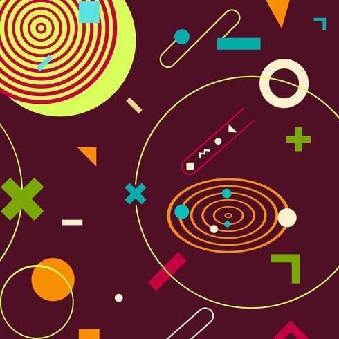 Brun trendiga geometriska former memphis hipster bakgrund vektor