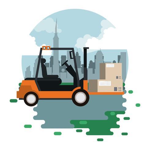 Transport Waren logistische Fracht Cartoon vektor