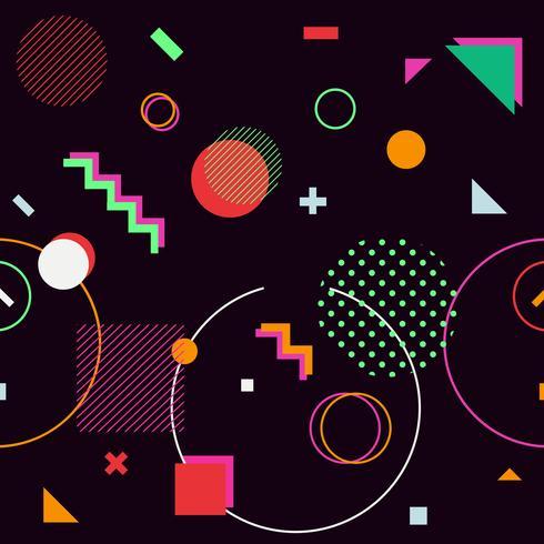 Svart trendiga geometriska former memphis hipster bakgrund vektor