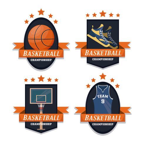 Uppsättning emblem för basket sport vektor