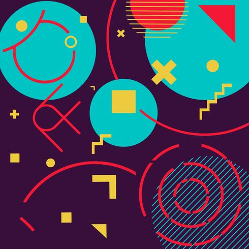 Flippiger geometrischer Formmemphis-Hippie-Hintergrund vektor
