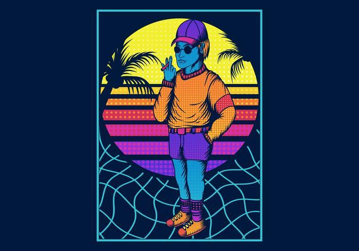 Mann, der in der Retro- Art 80s raucht vektor