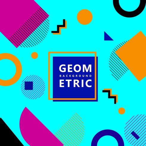 Blå trendiga geometriska former memphis hipster bakgrund vektor