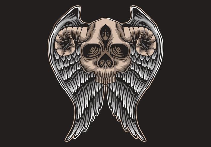 Skalle med horn och vingar vektor