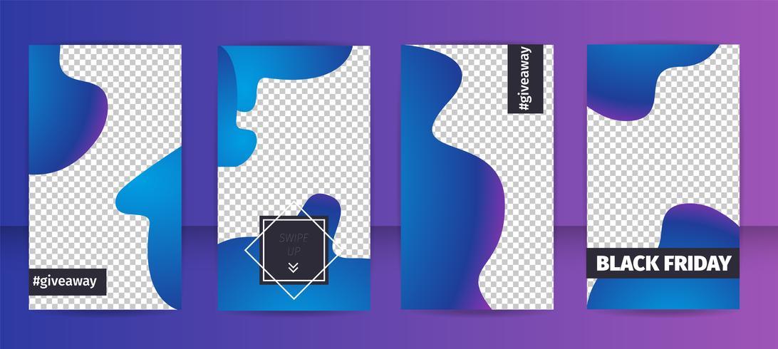 Ställ in reklam platt mall Hashtag Splash Style vektor