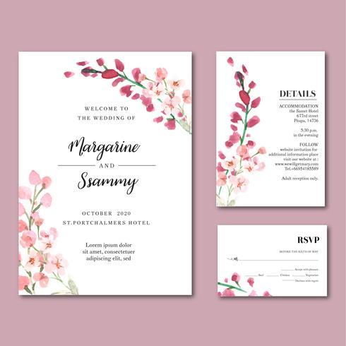 Blommig trädgårdsinbjudningskort för lyckligt bröllopskort vektor