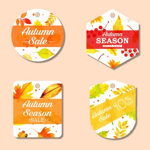 Schöner Aquarell-Herbst beschriftet Sammlung vektor