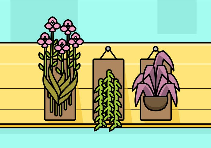 Satz botanische Hängepflanzen vektor