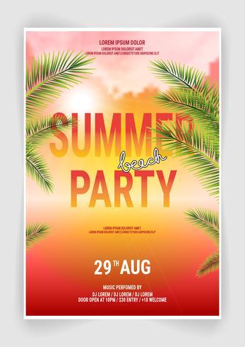Sommer-Strandfest-Flyer-Entwurf vektor