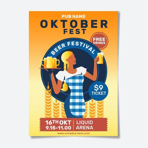 Oktoberfest Party Flyer oder Poster vektor