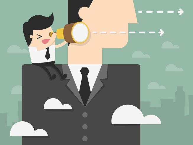 Affärsman som ser framåt på axeln av den jätte affärsmannen vektor