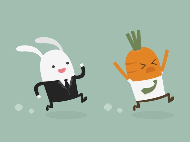 Kaninchengeschäftsmannjagd-Karottengeschäftsmann vektor