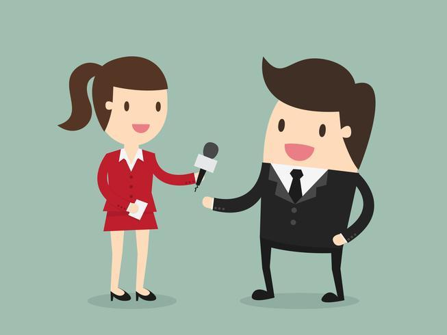 Kvinnlig journalistintervjuande affärsman vektor