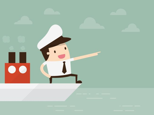 Kapitän stehend auf Boot zeigt vektor