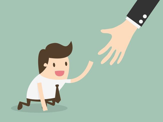 Menschen greifen nach Händen und helfen sich gegenseitig vektor