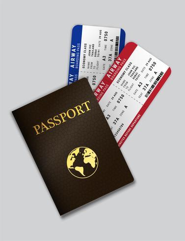 Reisepass mit Flugtickets im Inneren vektor