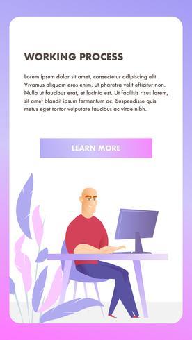 freelancer karaktär arbetsprocess mobil banner vektor