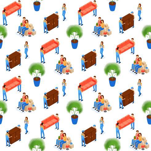 Träger tragen Möbel nahtlose Muster vektor