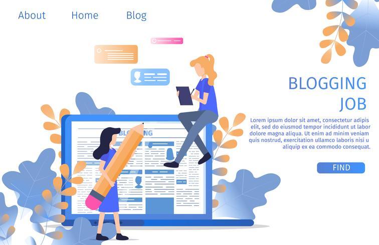 Texter, der Job Online Blogging Occupation findet vektor