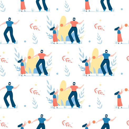 Nahtloses Muster mit glücklichem Vater und Tochter vektor