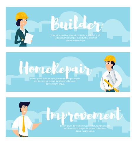 Satz Illustrationen von Architekten bei der Arbeit vektor