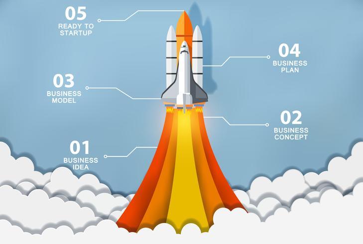 Rakete startet zum Geschäftsmodell vektor