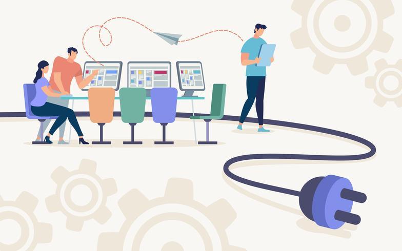 flygblad trådlöst nätverk för kontorsarbetare platt vektor
