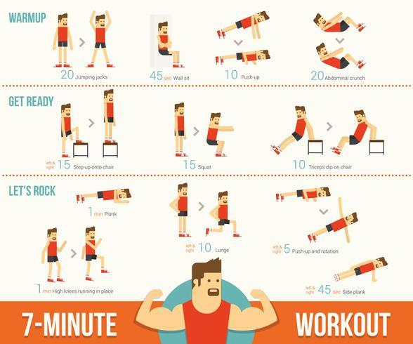 7 minuters träning infographic vektor