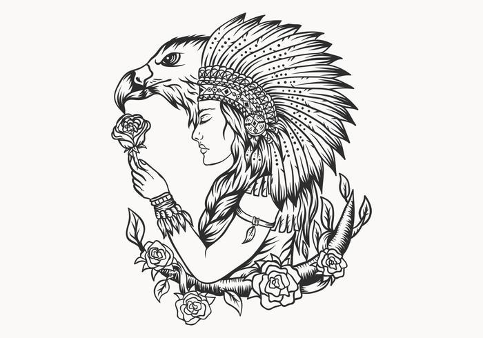 kvinnlig indian och örn vektor