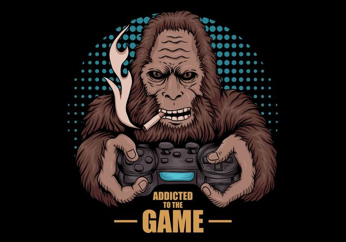 Spiel süchtig Bigfoot vektor