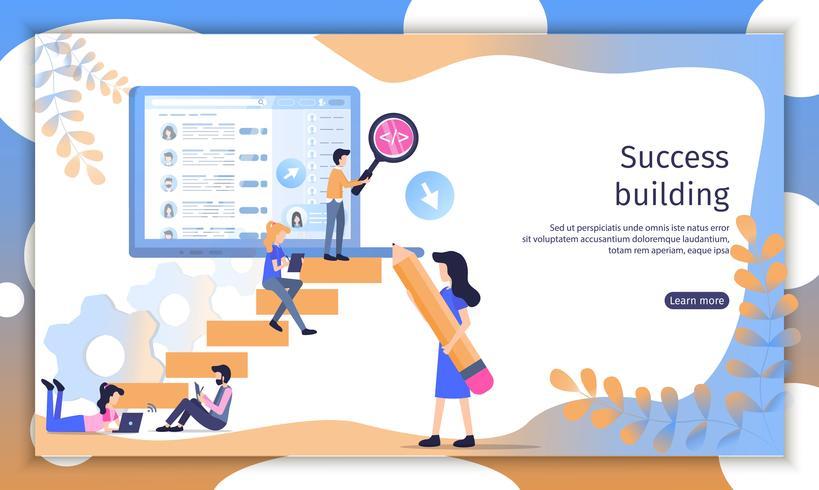 Framgångsrik webbplats för företagsteam vektor