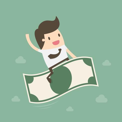 Geschäftsmann reitet fliegendes Geld vektor