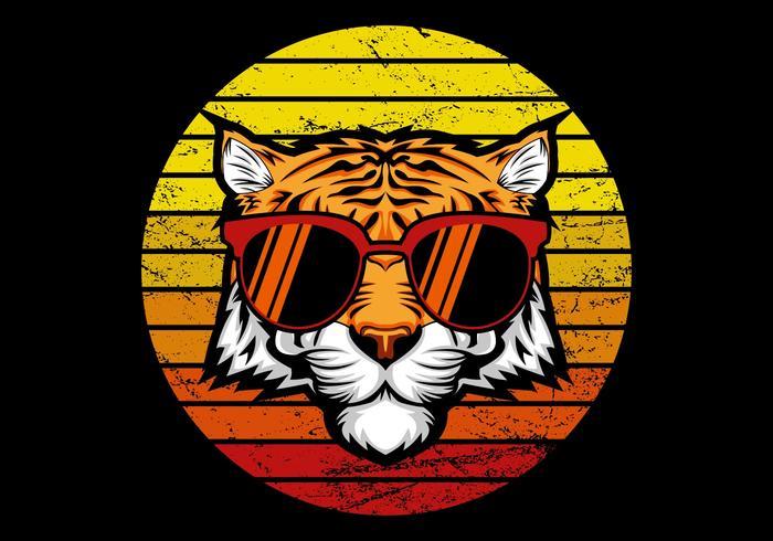 Retro Tiger vor Sonnenuntergang vektor