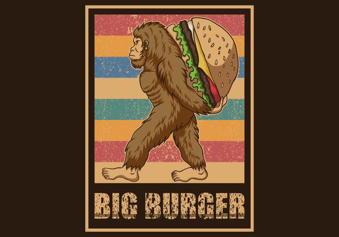 retro bigfoot holding burger vektor