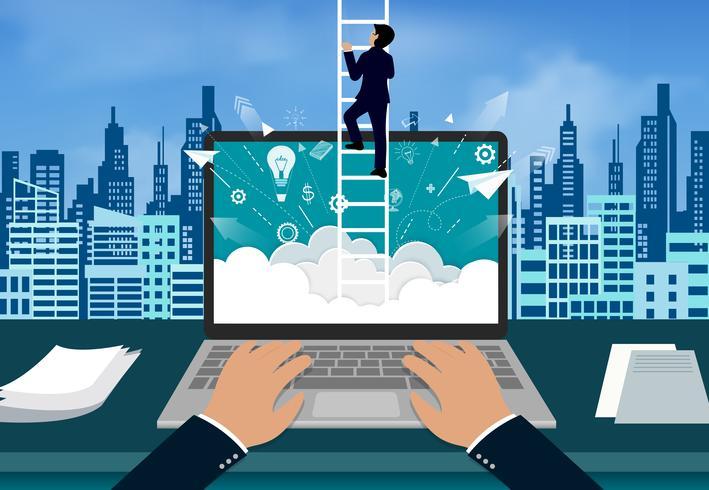 Affärsman som klättrar trappan till på himlen vektor