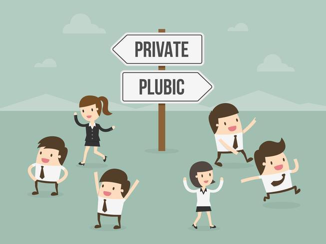 Leute, die zwischen privat oder öffentlich wählen vektor
