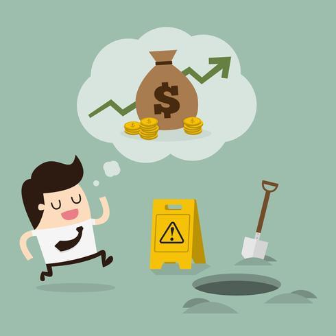 Mann läuft um Geld in ein Loch zu fallen vektor
