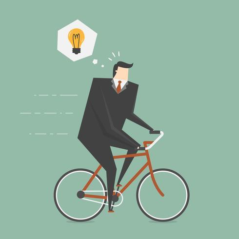 Geschäftsmann erhält Idee beim Radfahren vektor