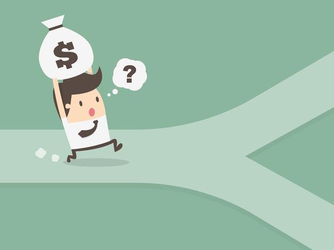 Affärsman som rymmer pengar på en korsning vektor