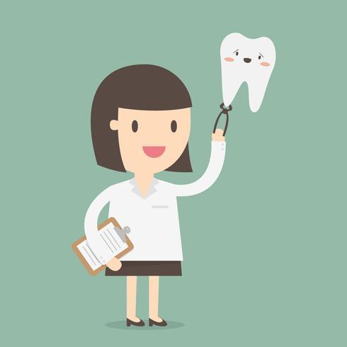 Weiblicher Zahnarzt, der großen lächelnden Zahn hält vektor