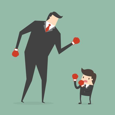 Affärsmanboxning mot en gigantisk affärsman vektor