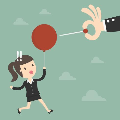 Kvinna som svävar på ballongen på väg att bli poppad vektor