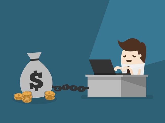 Geschäftsmann, der am Schreibtisch angekettet an Geld arbeitet vektor