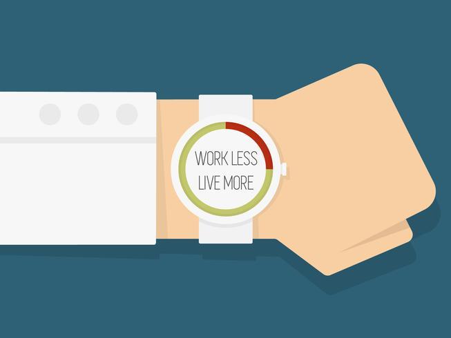 """Zeiger mit Uhr mit der Aufschrift """"Weniger leben, mehr arbeiten"""" vektor"""