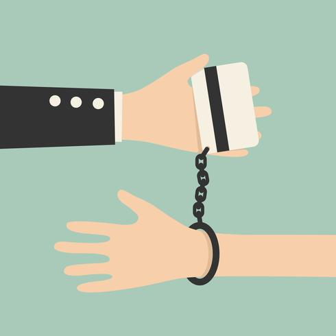 Hand bundet till kreditkort vektor