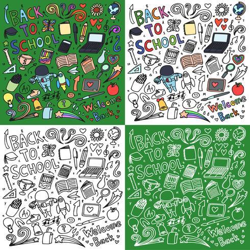 Tillbaka till skolan doodle art bundle vektor