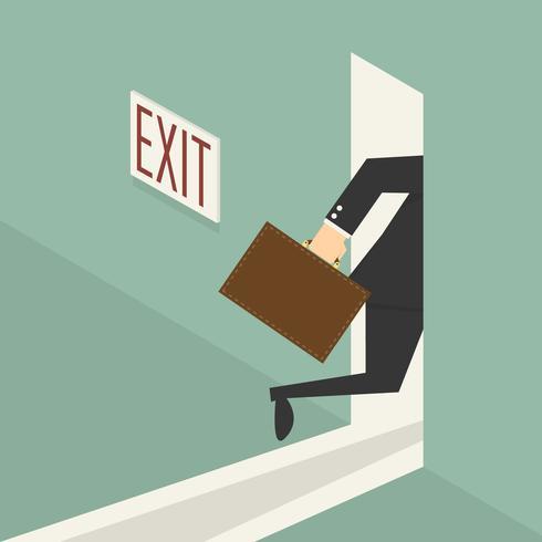 Affärsman som går genom utgångsdörren vektor