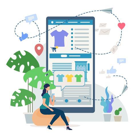 Online-shopping med mobiltelefon vektor